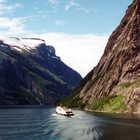 Boat on Lusterfjord, Jotunheimen Region, Norway