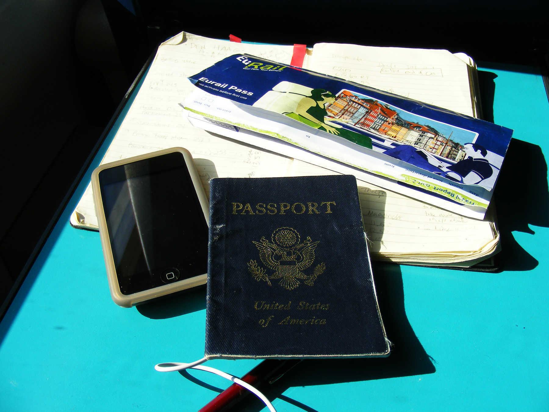 Passport, Rail Pass, Journal, Phone
