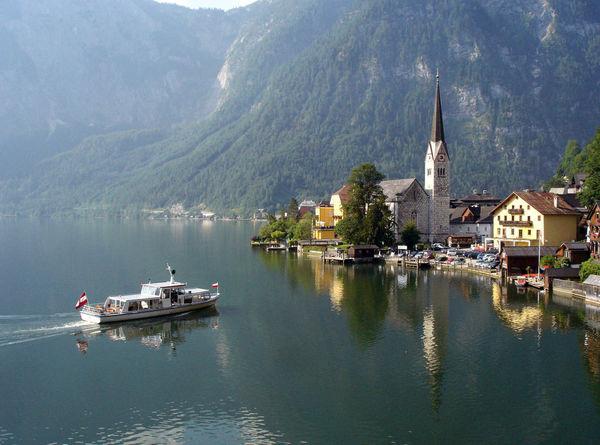 Boat on Lake in Hallstatt, Austria
