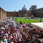 Crowd in Courtyard of Vatican Museum, Rome, Italy