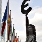 Euro Statue and Flags, European Parliament, Brussels, Belgium