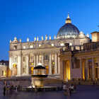St. Peter's Exterior at Night, Rome, Italy