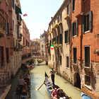 Gondolas on Small Canal, Venice, Italy
